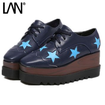 Spring Oxfords Shoes For Women Platform Lace Up Star reepers Women's Oxfords Shoes Casual Ladies Flats Shoes Loafers Black