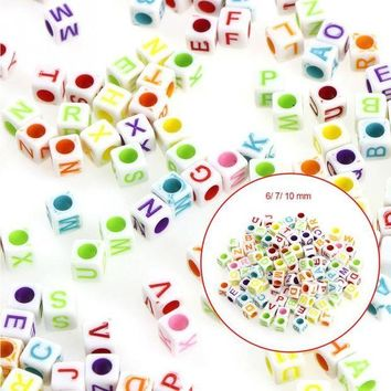 ac spbest 6mm 7mm 10mm 100pcs Mixed color Letter Alphabet Cube Acrylic Beads For Jewelry making DIY