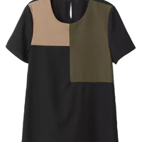 Black Color Block Short Sleeve T-shirt
