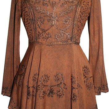 Medieval Embroidered Flare Tunic Top Blouse