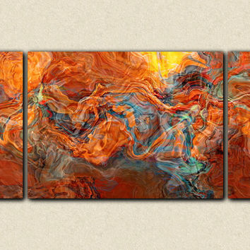 "Triptych large abstract stretched canvas print, 30x60 in copper, orange, yellow and turquoise, from abstract painting ""Copper Mountain"""