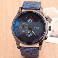 Mens Denim Strap Watch Casual Sports Unique Watches Christmas Gift + Beautiful Gift Box