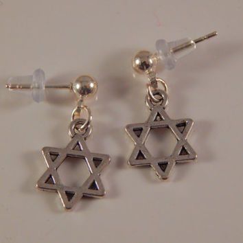 Little Star of David post dangle earrings, girls jewelry, studs, gift under 15 back to school, office wear - Bat Mitzvah,  Hanukkah Gift