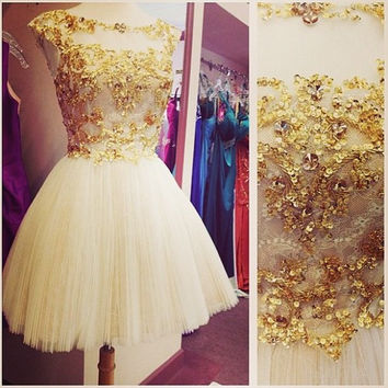 Gold Sequins Tulle Homecoming Dress