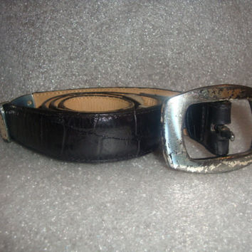 vintage 1995 BRIGHTON moc croc Black leather HINGED silvertone indie boho belt women size SMALL