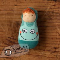 Waldorf doll - Pocket doll- Funny sock body - toy for toddlers - baby doll - boy doll - sock doll