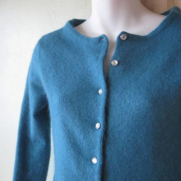 Boxy Turquoise Blue Cardigan with Rhinestone Buttons; XXS-XS~Wool-Cashmere or Angora Blend Button Up Sweater; Free Shipping/U.S.