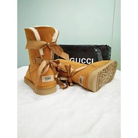 UGG Stylish Women Personality Cute Two Bow Boots In Tube Boots Shoes Brown I