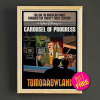 Vintage Disneyland Print Tomorrowland Carousel of Progress Poster House Wear Wall Decor Gift Linen Print - Buy 2 Get 1 FREE - 342s2g