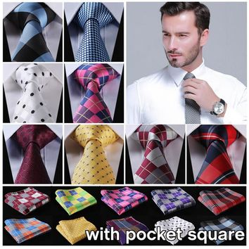 100%Silk Men Tie Necktie Pocket Square Handkerchief Set Suit