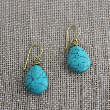 Tear Drop Stone Dangle Earrings-Turquoise