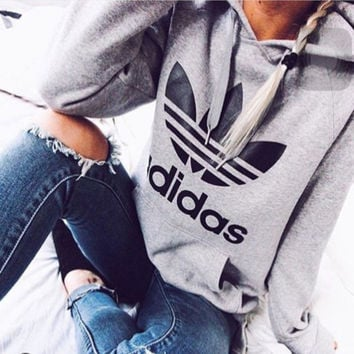 Gray Adidas Print Women's Long Sleeve Hoodies Sweater