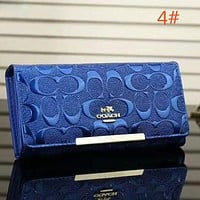 COACH Women Fashion New Pattern Print Leather Purse Wallet Handbag Blue