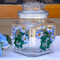 Hand Painted Glass Canister With Blue Daisies