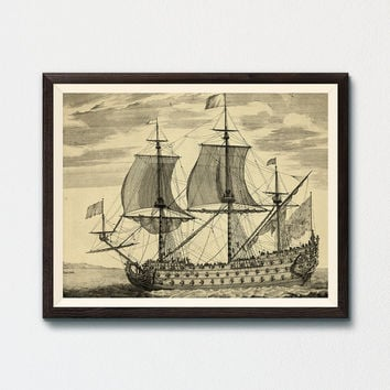 French Ship of the Line Printable, Pierre Mortier, NAVY Wall Art, World War, Historic Art Print, Le Soleil Royal 1669, 104-gun Warship Art