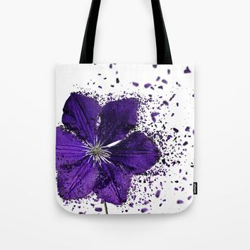 Purple flower Explosion Tote Bag by Claude Gariepy