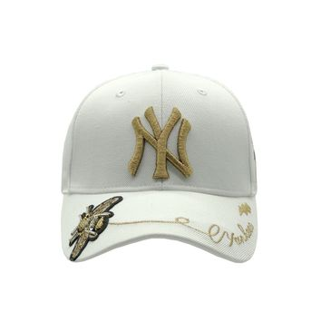 MLB NY Fashion New Embroidery Letter Women Men Sunscreen Cap Hat white-gold