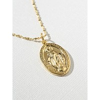 Gold Madonna Single Necklace