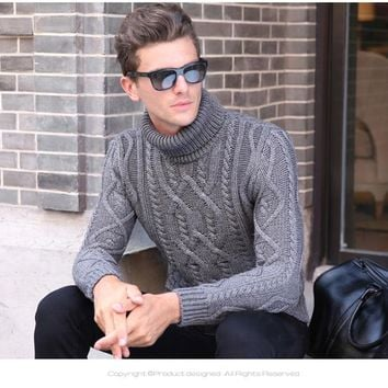 Men's Warm Winter Cashmere Turtle Neck Soft Wool Cable Knit Sweater