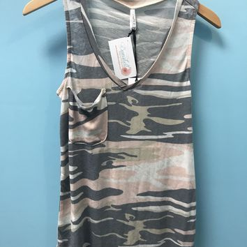 Camo Pink Pocket Racer Tank by Z Supply