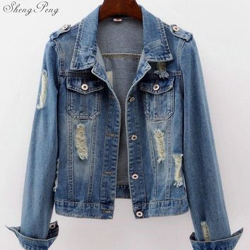 Trendy Womens denim jackets denim jacket for women jeans jacket women autumn light wash oversized denim jacket 6xl V1133 AT_94_13