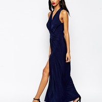 ASOS Wrap Halter Dress with Thigh Split