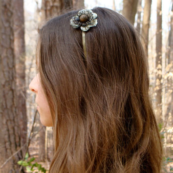 "Brass Flower Headband, Metal Vintage Button Floral Hair Accessory, Nickel Free Metallic Headband, Rustic Cut Metal - ""Eternal Bloom"""