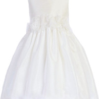 Ivory Poly Silk Dress with Organza Flower Waist (Girls 2T to Size 8)