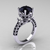 Reserved - Classic French 10K White Gold 3.0 Carat Black Diamond Solitaire Wedding Ring R401-2-10KWGBD