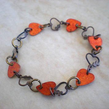 Heart Bracelet: Orange - Copper Jewelry - Heart Jewelry - Love Jewelry - Hippie Jewelry - Cute Jewelry - Boho Jewelry - Orange Hearts