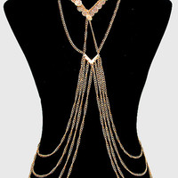 Hammered Tibetan Coin Double Layered Body Chain, Festival Chain Harness - Gold