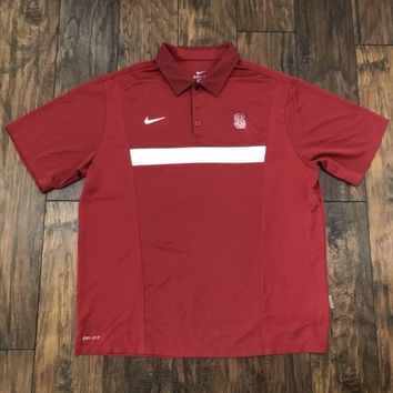 Authentic Nike Team Dri-Fit Stanford Cardinals Red Athletic Polo Shirt Mens XL