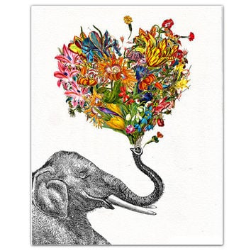 "The Happy Elephant - ART Print 8"" x 10"""