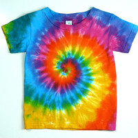 Kids Tie Dye Tee Shirt, Pink Rainbow Spiral, Eco-friendly