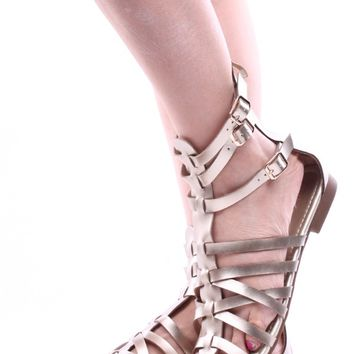 GOLD FAUX LEATHER STRAPPY GLADIATOR ANKLE SANDALS