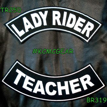 Lady Rider Teacher Embroidered Patches Sew on Patches Motorcycle Biker Patch Set for Jackets