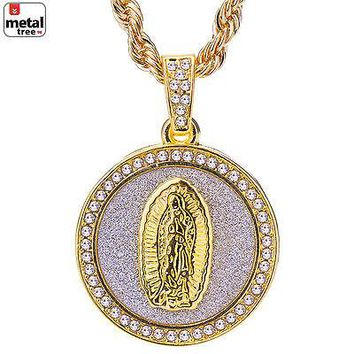 "Jewelry Kay style Men's CZ 14k Gold Plated Iced Out Guadalupe Pendant 24"" Rope Chain HC 116 G"