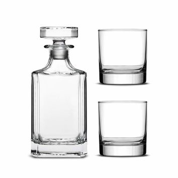 Custom Etched Refillable Diamond Decanter with Set of 2 Custom Whiskey Glasses