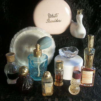 Thirty-three Vintage Dressing Table Items -  Perfume Bottles, Powder Boxes, Atomizers and more