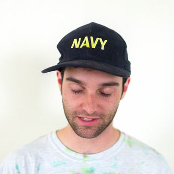 90s navy blue hat, vtg united states naval seals, baseball cap, 1990s accessories, health goth, american apparel, tumblr, kawaii, usa army