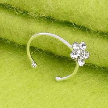 Small Thin Flower cCrystal Nose Ring Stud Hoop Sparkly Crystal Nose Ring