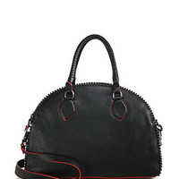 Studded Leather Bowling Satchel Bag