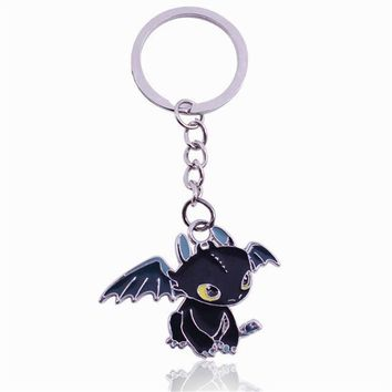 Children's toy Metal Animiation toys metal chain cartoon character Dragon Night Fury Toothless Figure Key Ring  kids Gifts