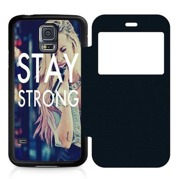 Stay Strong Demi Lovato Leather Wallet Flip Case Samsung Galaxy S5
