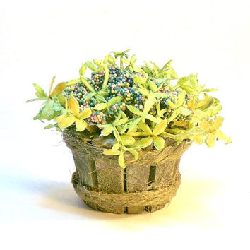 Rainbow Flowers and Plant in Wood Pail Fairy Garden Miniature Dollhouse