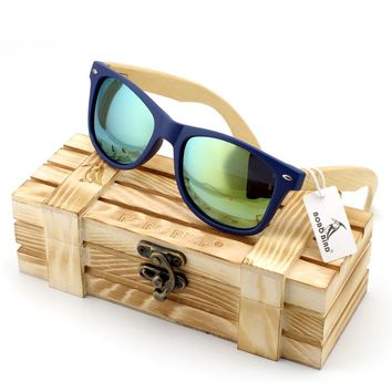 Men's Bamboo Wood Sunglasses in Vintage Style with Plastic Frame and Polarized UV