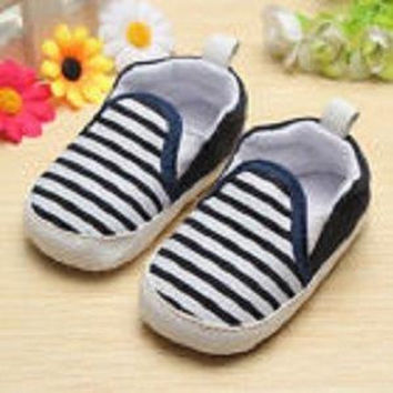 Navy and White Striped BABY BOY Prewalker Shoes