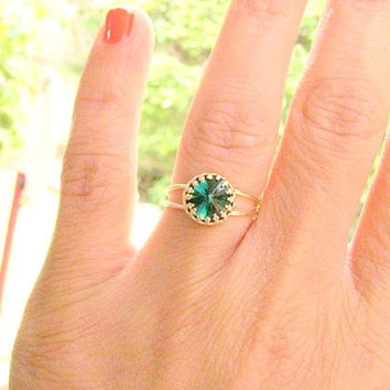 Gold ring, gold emerald ring, Swarovski ring, Emerald, green, stackable ring,  St. Patrick's Day jewelry, bridal jewelry