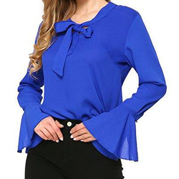 Mixfeer Womens Tie Bow Neck Chiffon Blouse Long Sleeve Slim Fit Casual Blouse