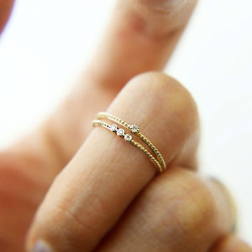 14K Gold Knuckle Ring with Small Diamond